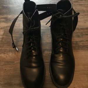 Black Combat Boots Lace Up Buckle Zipper Size 10